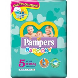 PAMPERS BABY DRY DOWNCOUNT JUNIOR 17 PEZZI